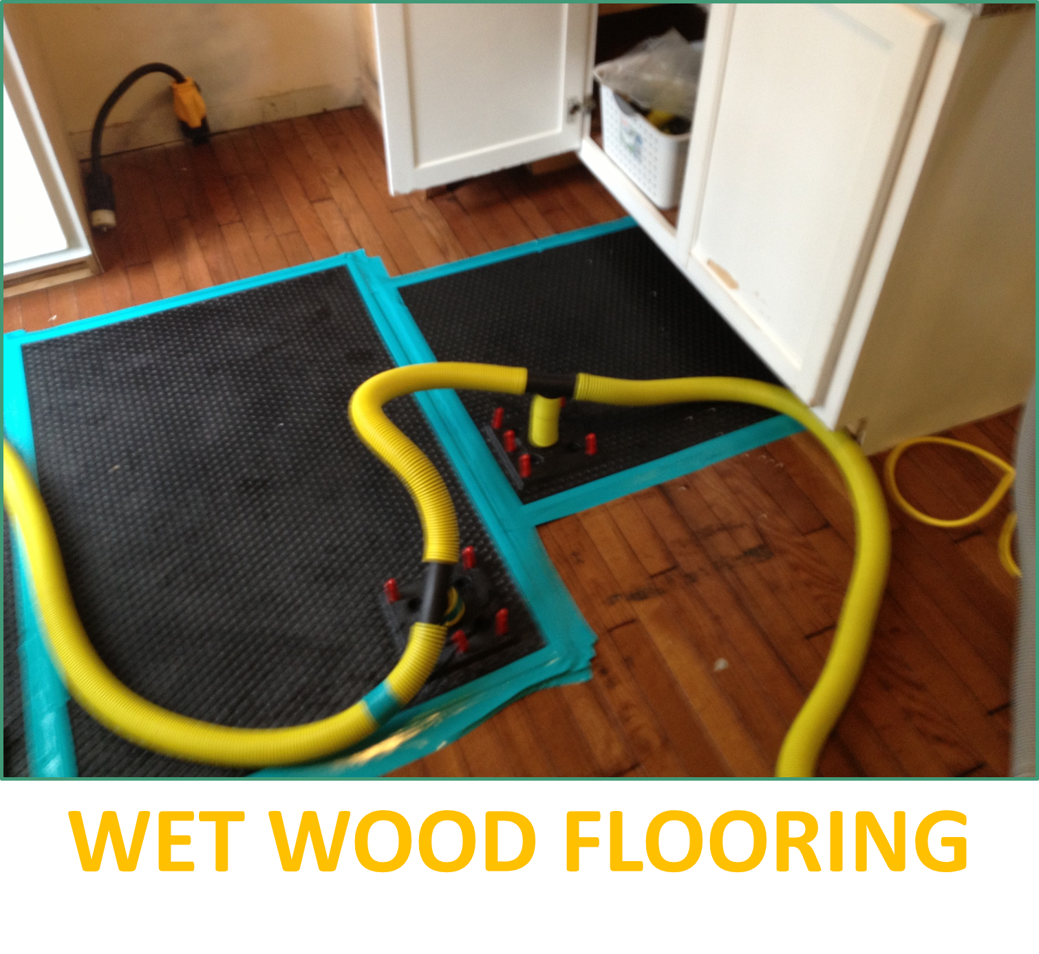Pipe leak almost damaged wood flooring, Roofing Experts saved wood flooring!